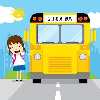 De studente gaat naar school door schoolbus in het beeldverhaal van het ochtendjonge geitje
