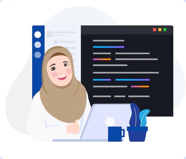 De studente van deelnemer bootcamp schrijft programmeertaalcode op scherm laptopprojector en gebruikt versiebeheer software git repository.