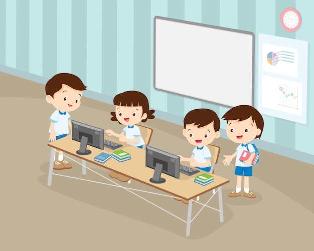 De studentenjongen en het meisje werken met computer in klaslokaal