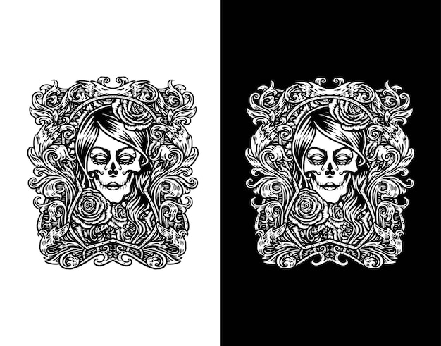 De suikerschedel van het meisje die op wit en zwart wordt geïsoleerd