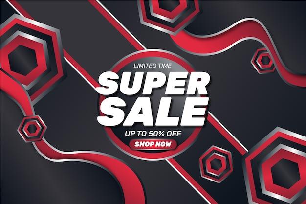 De super verkoopwinkel vat nu rode rode donkere achtergrond samen