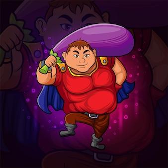 De superheld met het aubergine esport-mascotteontwerp van illustratie