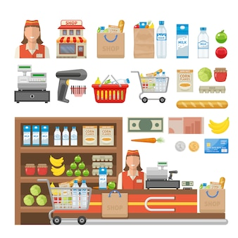 De supermarkt decoratieve die elementen met werknemersmateriaal worden geplaatst van het contante geld van het winkelvoedsel en de bankkaart isoleerden vectorillustratie
