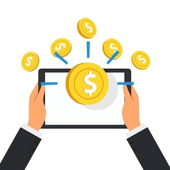 De tablet van de bedrijfsmensenholding met de vlotter van het dollarsmuntstuk op het scherm