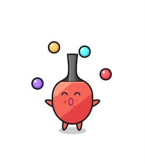 De tafeltennisracket circus cartoon jongleren met een bal, schattig stijlontwerp voor t-shirt, sticker, logo-element