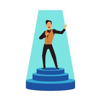 De talentenshow performer zingt op stadiumvoetstuk, vlakke vectorillustratie geïsoleerd.