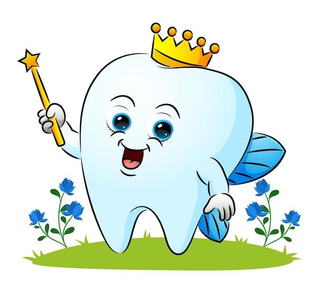De tandenfee gebruikt de kroon en houdt de toverstok van de illustratie vast