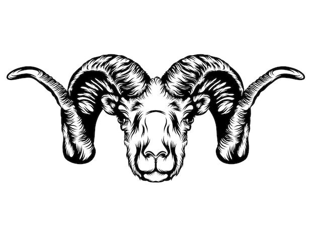 De tatoeage-animatie van de geitenkop met de hoorns