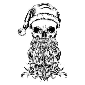 De tatoeages van de dode schedel met de kerstmuts en lange baard