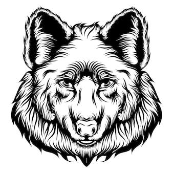 De tatoeagesanimatie van de grote kop van de wolf met een goede illustratie