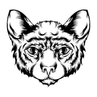 De tatoeagesanimatie van de kattenillustratie met schattig gezicht