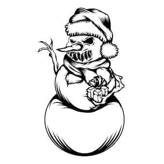 De tatoeagesideeën van de sneeuwman met het schrikgezicht voor de kerst