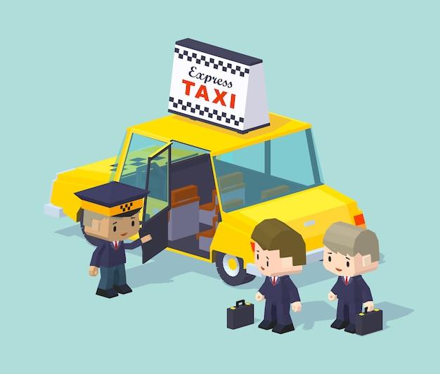De taxichauffeur nodigt twee mensen uit om te rijden