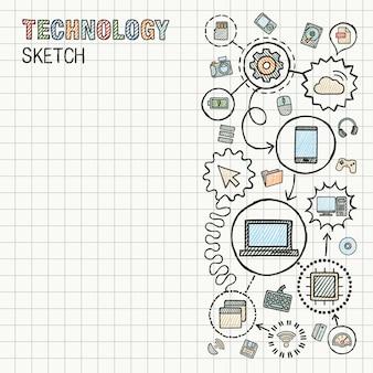 De technologiehand trekt integreert pictogrammen die op papier worden geplaatst. kleurrijke schets infographic illustratie. verbonden doodle pictogrammen. internet, digitaal, markt, media, computer, netwerk interactief concept