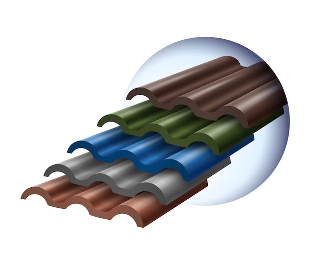 De tegels zijn gestapeld in verschillende kleuren die populair zijn.