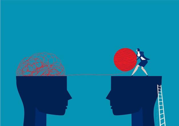 De tegenovergestelde mentaliteit chaos en orde in gedachten concept.