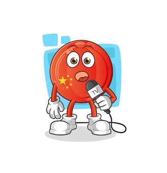 De tekenfilm van de tv-verslaggever met chinese badge. cartoon mascotte