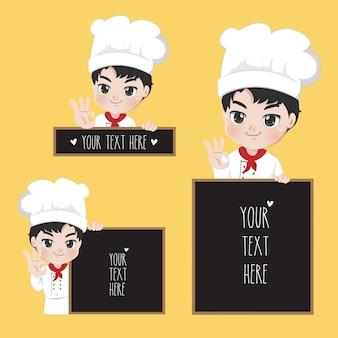 De tekensignage van de chef-koktekst met knappe glimlach