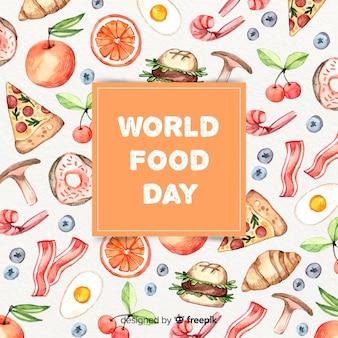 De tekst van de wereldvoedseldag in vakje met voedsel