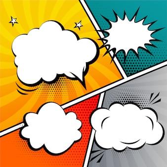 De tekstballon van het stripverhaal en uitdrukkingenmalplaatje