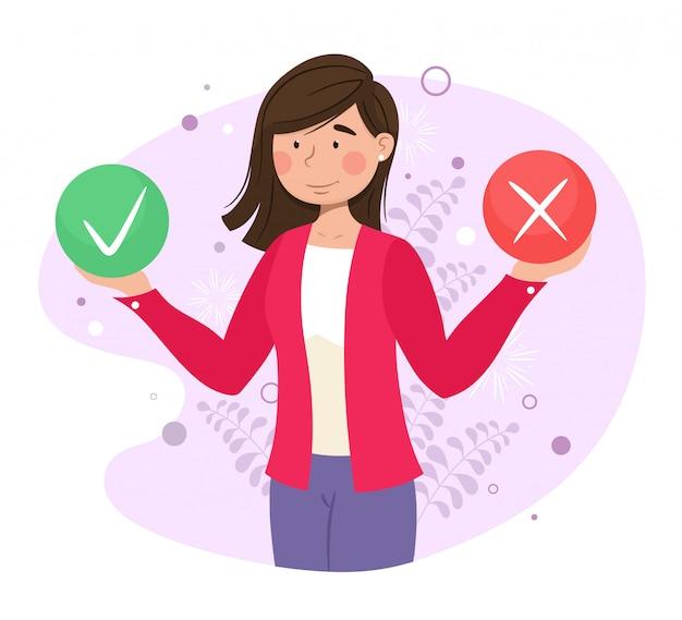 De test invullen in de vorm van een klantenonderzoek. illustratie voor webbanner, infographics, mobiel. klantconcept tevredenheid en ontevredenheid. illustratie.