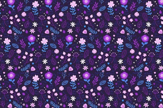 De textielachtergrond van stoffen ditsy bloemen in violette tonen
