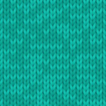 De textuurachtergrond van de wol turkooise kleur. naadloos gebreide achtergrond