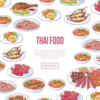 De thaise banner van het voedselrestaurant met aziatische schotels