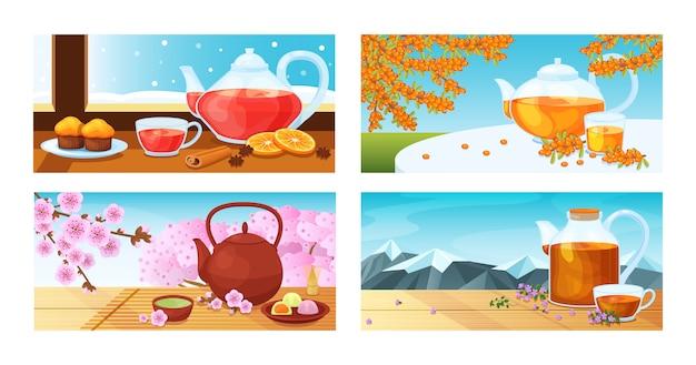 De theekop van het beeldverhaal, theepotillustratie. leuke keramische waterkoker met japanse roze bloemen, glazen theekopje met aroma oranje, duindoorn warme drank geserveerd suikertaart.