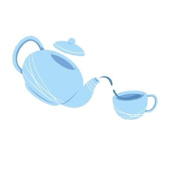 De theepot schenkt thee in een mok. het concept van een gastvrij theekransje. welkomstdrankje