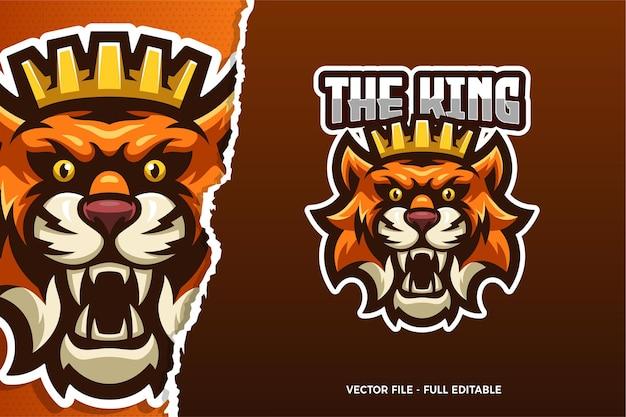 De tiger king e-sport game logo sjabloon Premium Vector