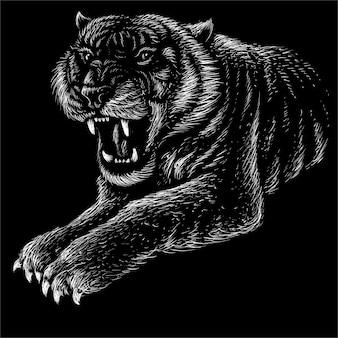 De tijger voor tattoo of t-shirt design of uitloper.