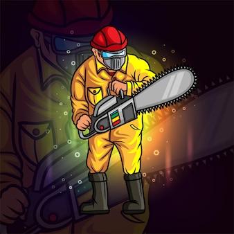 De timmerman met het ijzerzaag esport-mascotteontwerp van illustratie