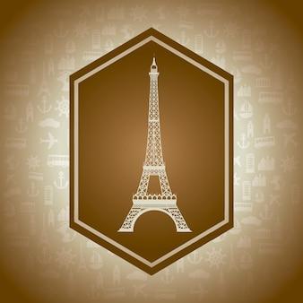 De toren van eiffel over bruine achtergrond vectorillustratie