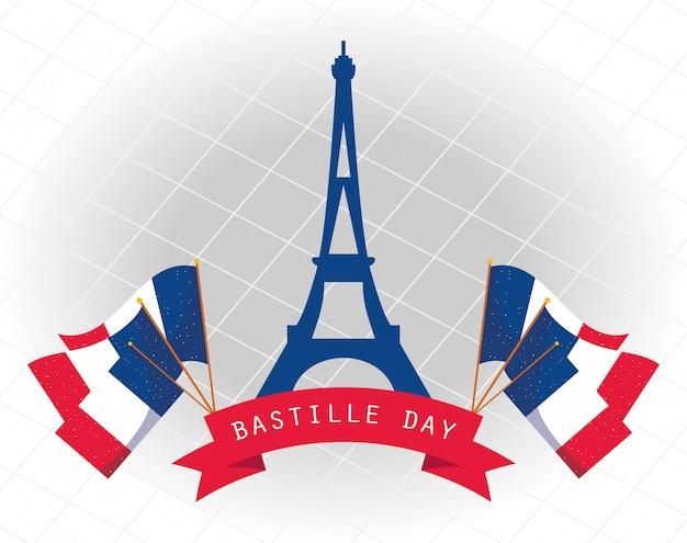 De toren van frankrijk eiffel met vlaggen van gelukkig bastille-dagontwerp