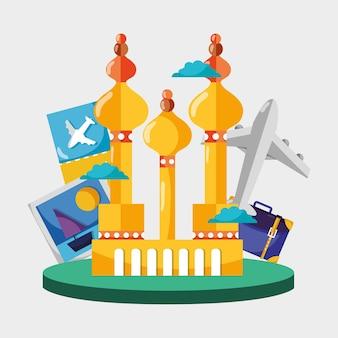 De toren van moskou met beeld en vliegtuigreis
