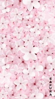 De tot bloei komende roze achtergrond van sakurabloemen. mooie print
