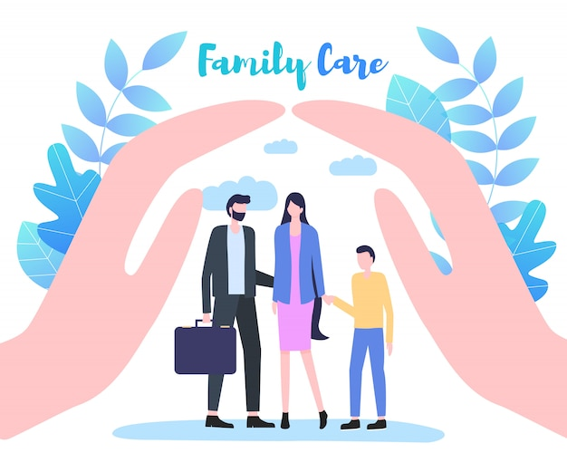 De tot een kom gevormde palmen van de hand beschermen de vectorillustratie van de familiezorg