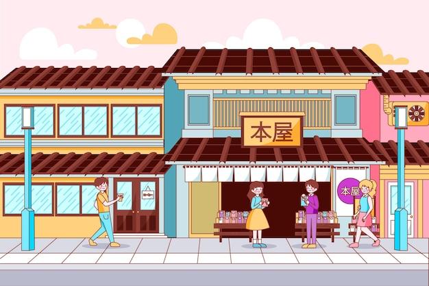 De traditionele straat en winkels van japan