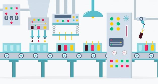 De transportband voor de productie van ijsjes met chocolade, aardbei en citroen. de fabriek van ijsjes.