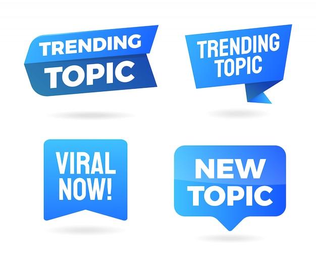 De trending topic banner en teken geïsoleerde set