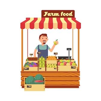 De tribune van de fruit en plantaardige markt met de gelukkige jonge vlakke vectorillustratie van het landbouwerskarakter