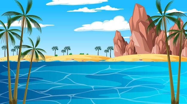 De tropische scène van het strandlandschap in dagtijd