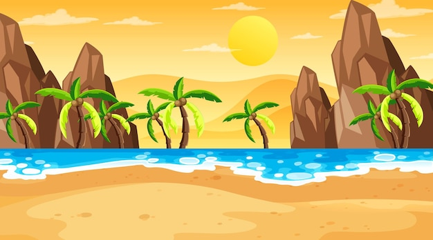 De tropische scène van het strandlandschap in zonsondergangtijd