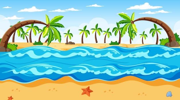 De tropische scène van het strandlandschap met vele palmbomen overdag