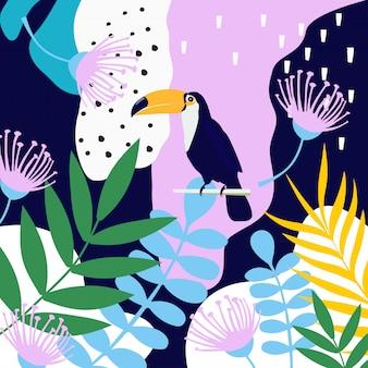 De tropische wildernis verlaat achtergrond met toekan