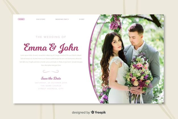 De trouwlandingspagina met foto