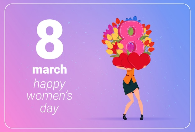 De tulpenbloemen van meisjesholding en rood harten gelukkig vrouwen dag 8 maart-vakantieconcept