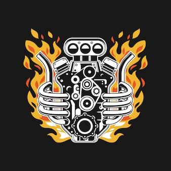 De turbo motor van de illustratie met vuur op uitlaatpijp