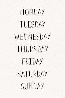 De typografie van de weekdagen